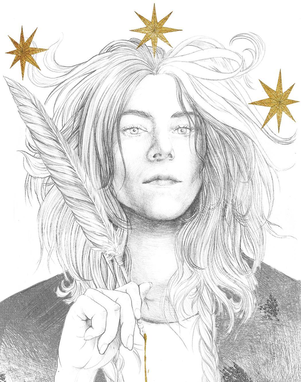 Ritratto a matita di Patti Smith di Zoa Studio