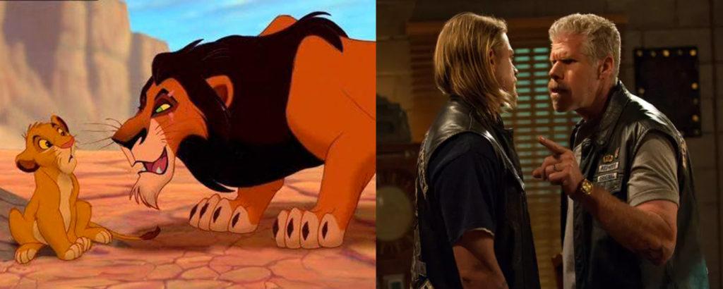 The lion king Simba e Scar e i personaggi di Sons of Anarchy Jax e Clay
