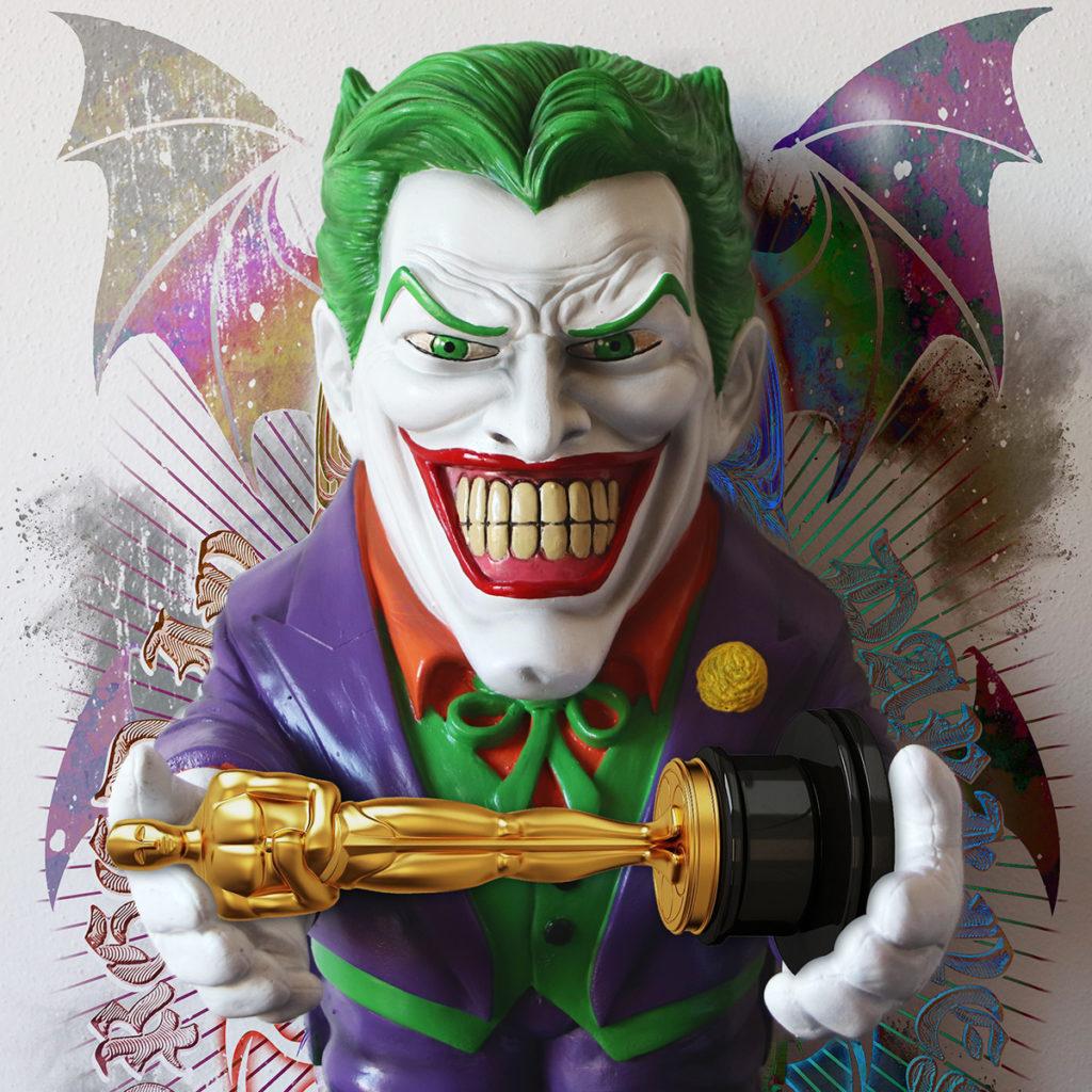Statuetta del Joker con statuetta Oscar e stampa Zoa Studio