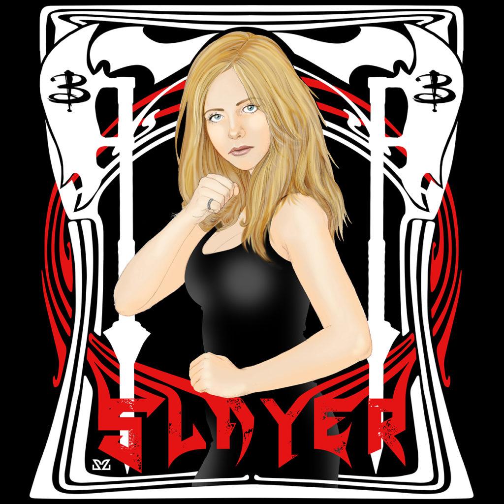 Illustrazione di Zoa Studio tributo a Buffy l'Ammazzavampiri