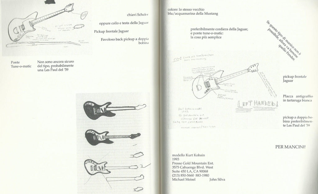 Appunti di Kurt Cobain sulla sua chitarra
