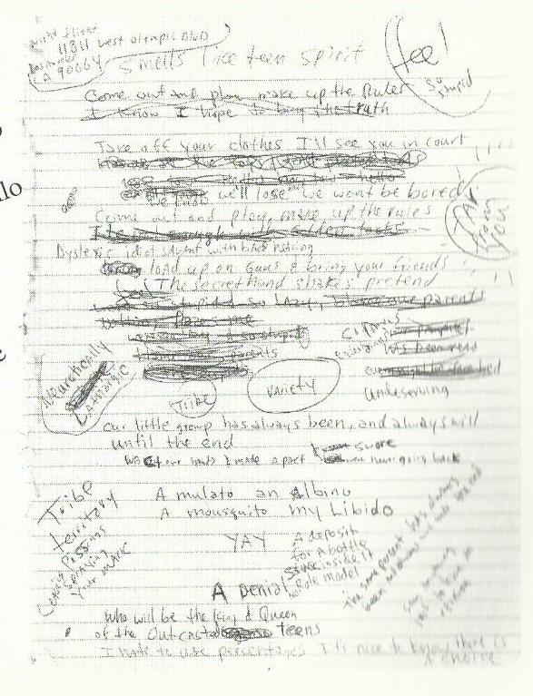 Pagina dei Diari di Kurt Cobain con Smells like a teen spirit
