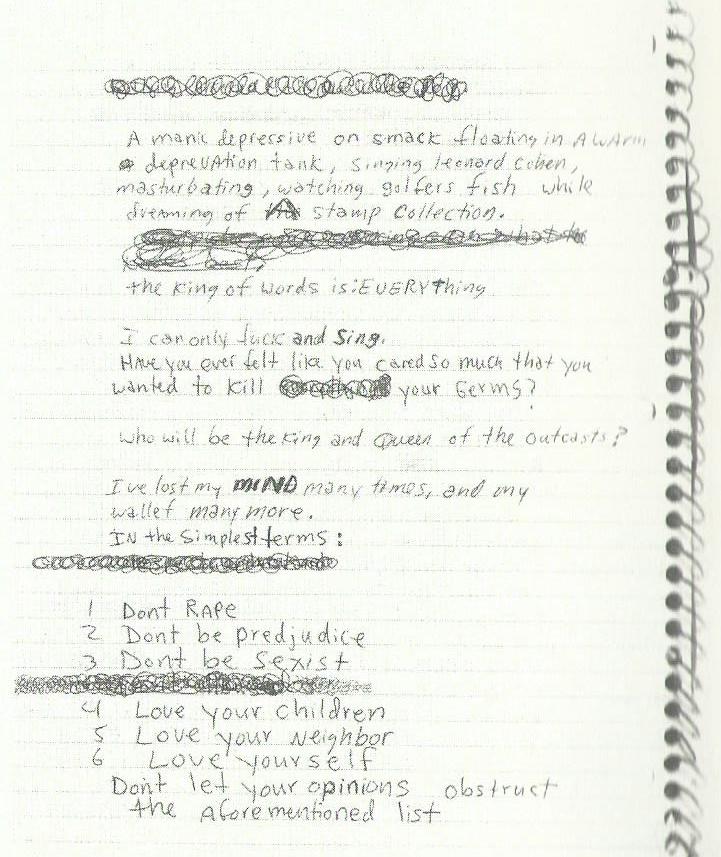 Pagina dei Diari di Kurt Cobain con i 6 comandamenti