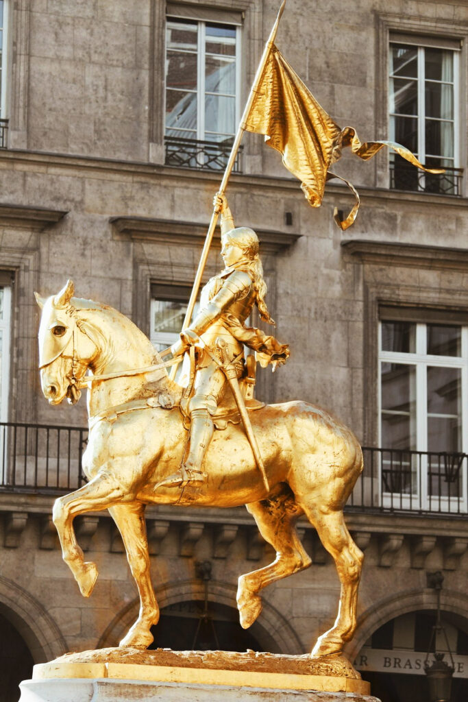 Statue of Joan of Arc in Paris in Place des Pyramides