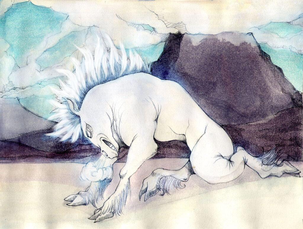 Cavallo disegnato da Zoa Studio ispirato ai disegni di Kay Nielsen
