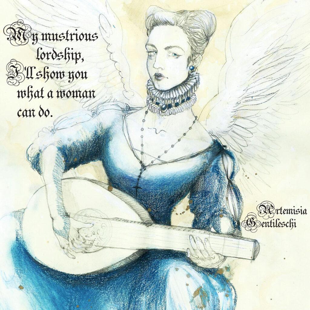Disegno di Zoa Studio con citazione di Artemisia Gentileschi