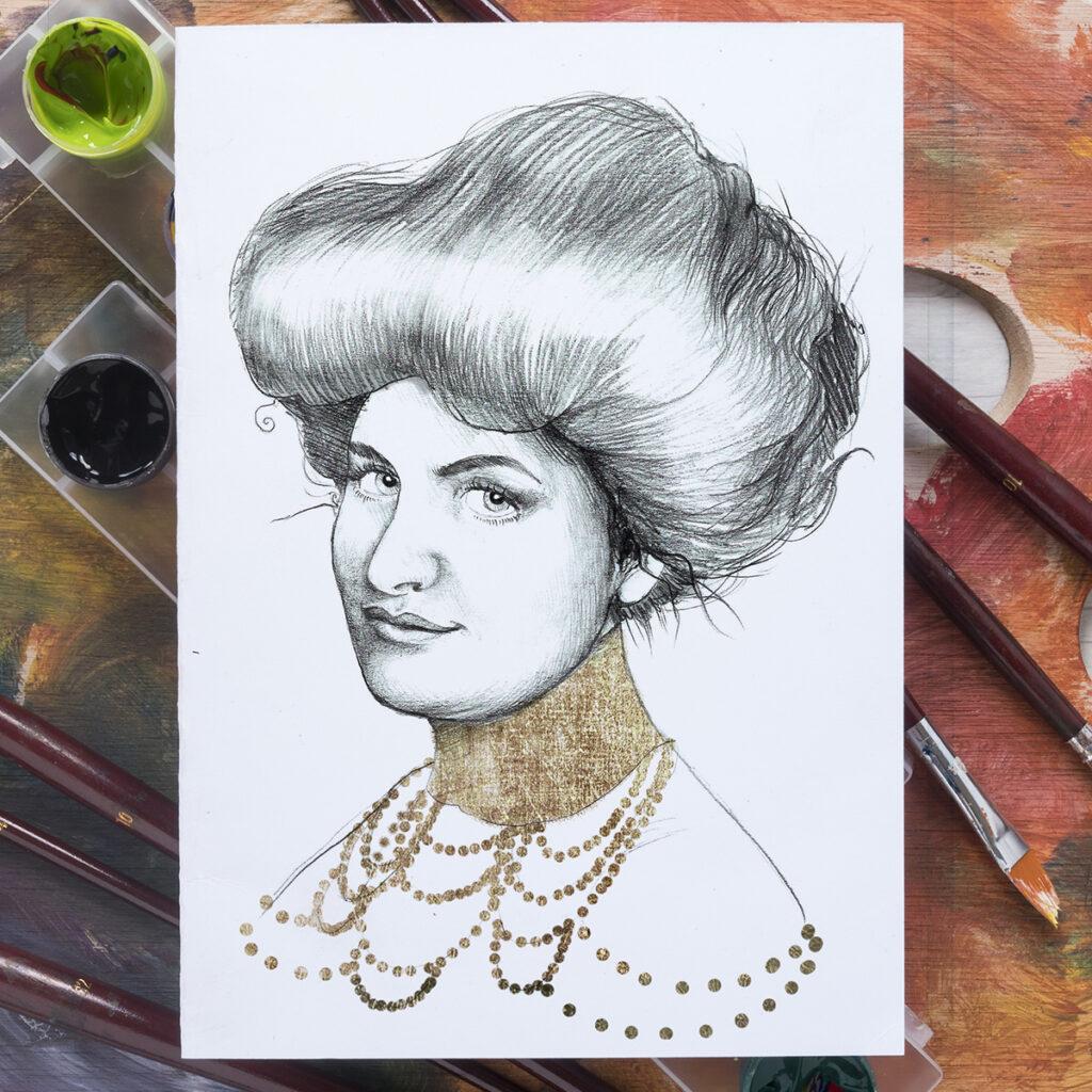 Ritratto a matita di Alma Mahler di Zoa Studio