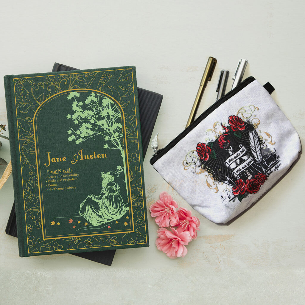 libro di Jane Austen e astuccio di Zoa Studio dedicato alla scrittrice