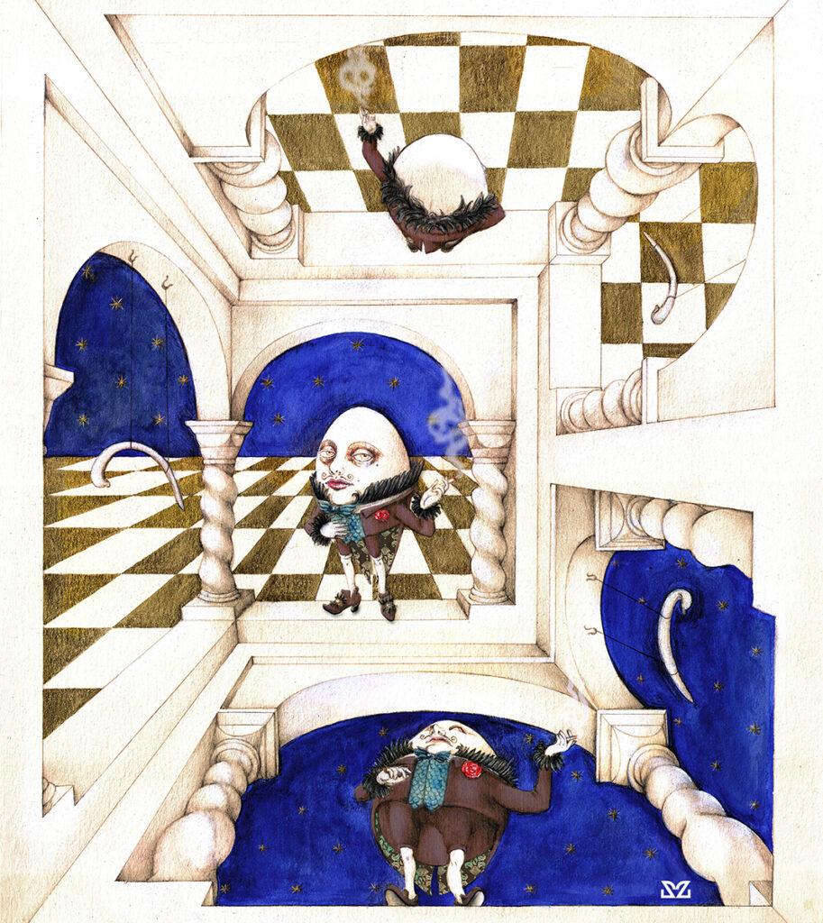 Illustrazione di Zoa Studio ispirata ad Humprey Dumpty, personaggio di Lewis Carroll