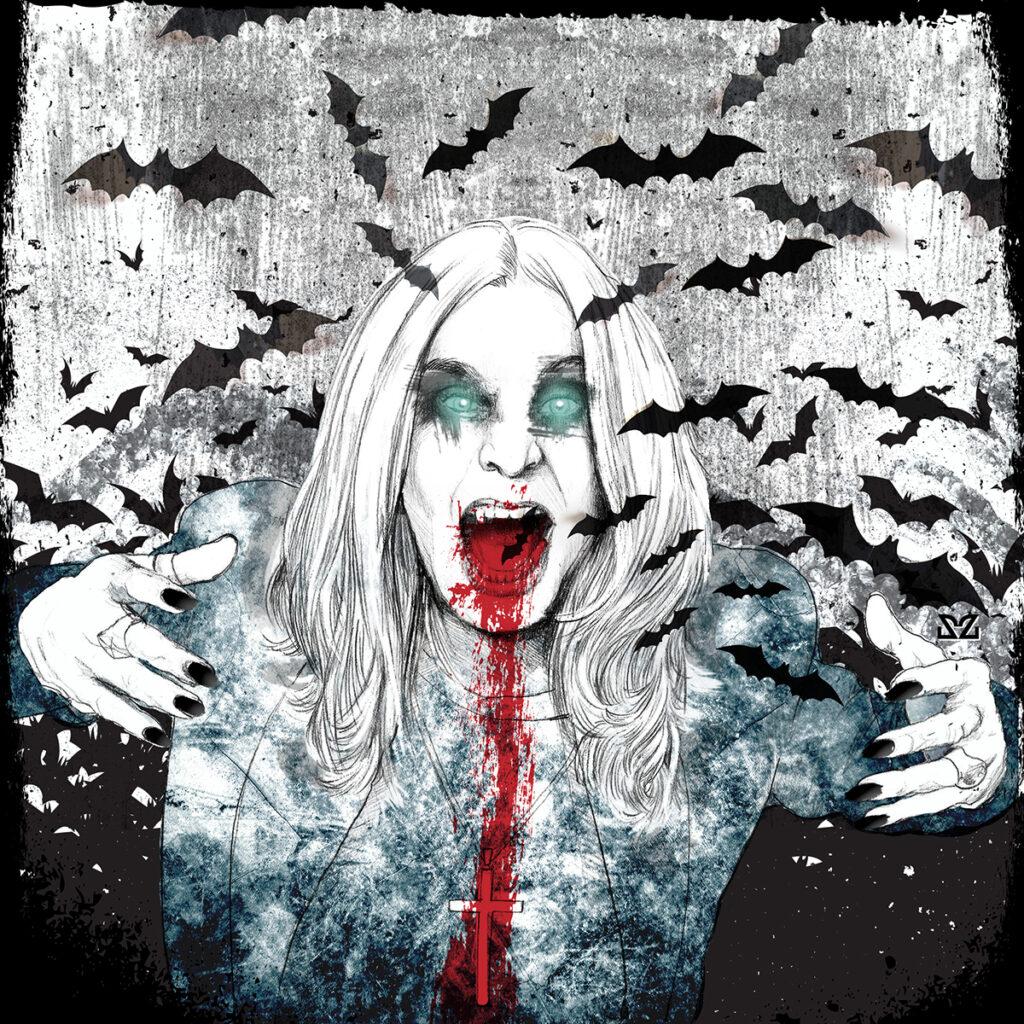 Zoa Studio illustrazione della leggenda di Ozzy Osbourne e il pipistrello